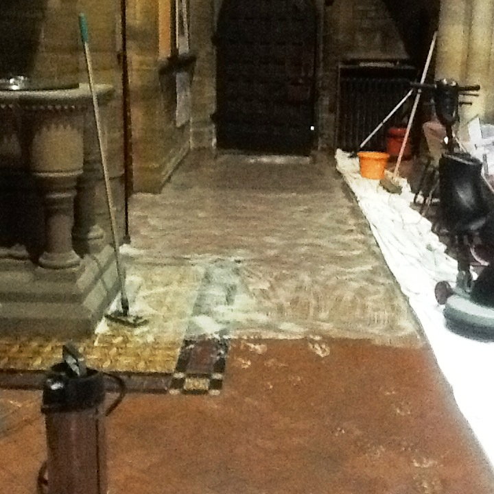 Victorian quarry tile cleaning St. Marys church