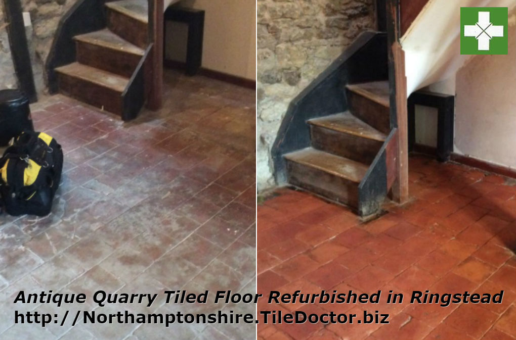 Antique quarry tiled floor before and after cleaning in Ringstead