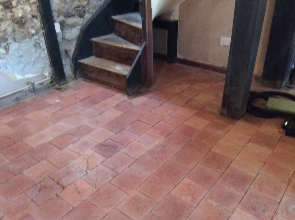 Quarry tiles after cleaning Ringstead
