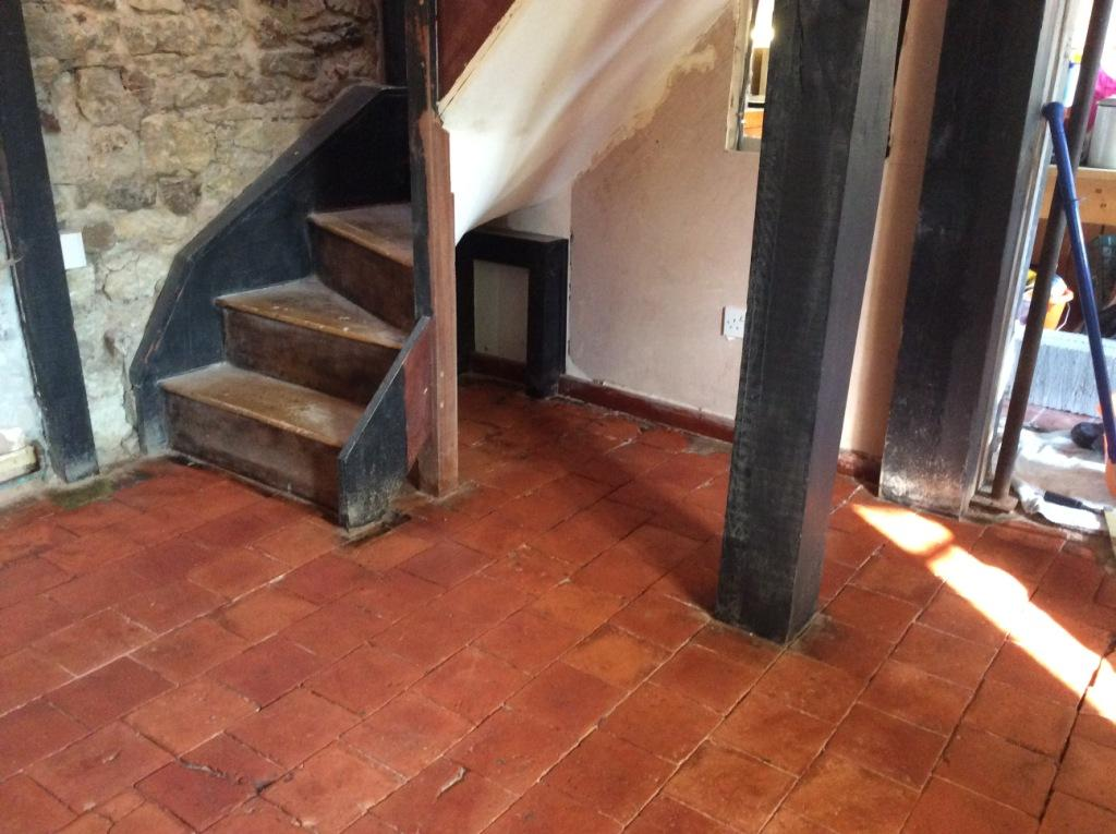 Quarry tiles after sealing Ringstead