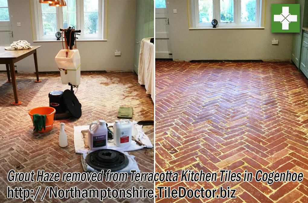 Terracotta tiles before and after grout haze removal in Cogenhoe