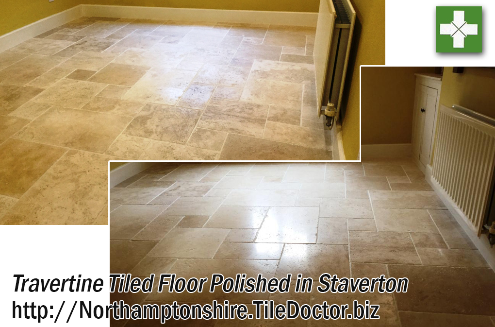Travertine tile before and after polishing in Staverton