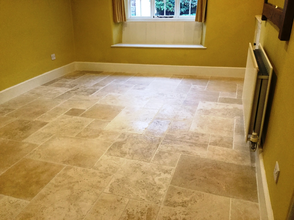 Travertine tile before burnishing Steverton