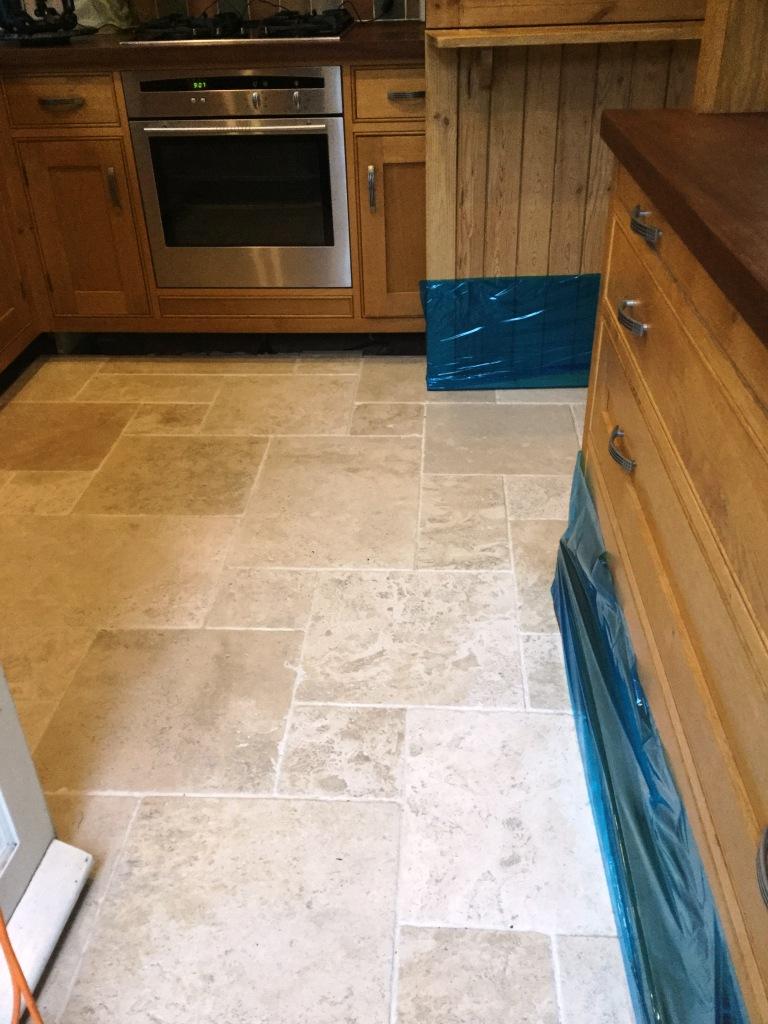 Travertine tile before burnishing Steverton