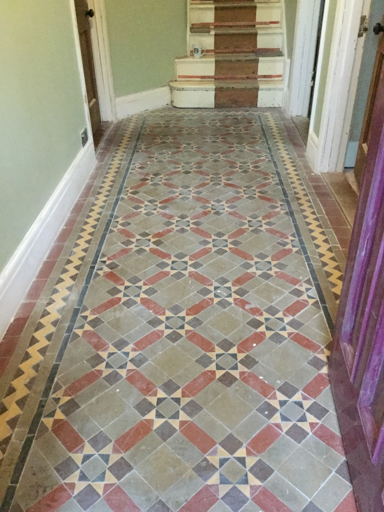 Victorian Tiled Floor Before Cleaning in Finedon