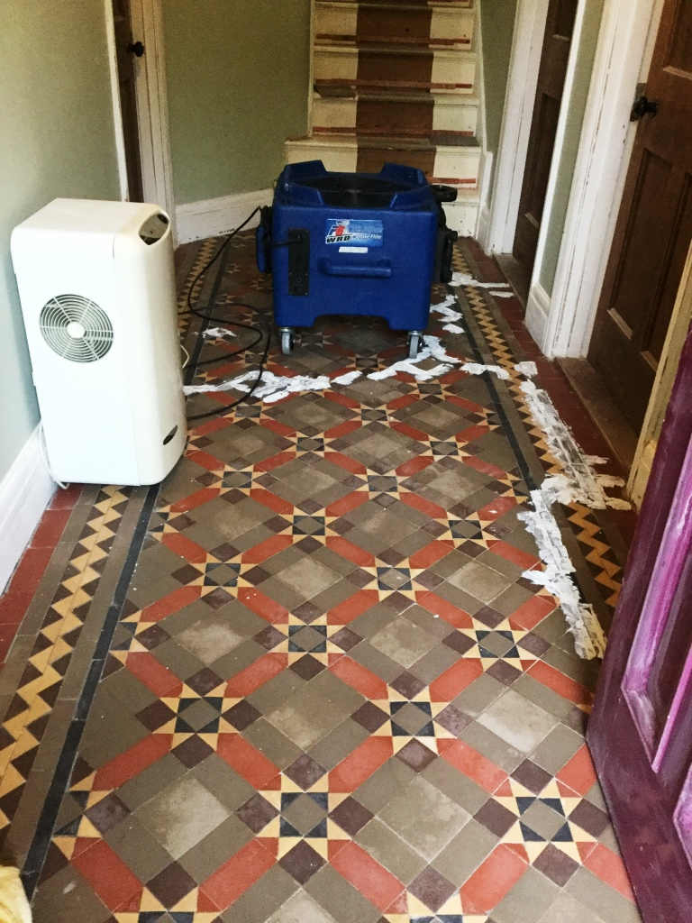 Victorian Tiled Floor During Cleaning in Finedon