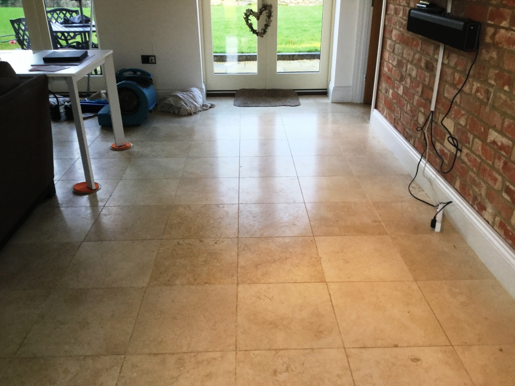 Polished Limestone Floor Before Cleaning Ashton Village