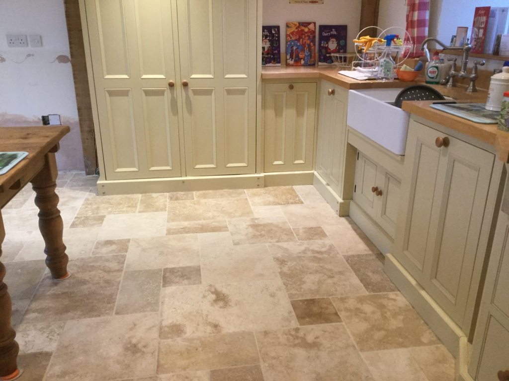 Travertine Flooring In Kitchen Badly Stained And Pitted Travertine Tiled Kitchen Floor Renovated
