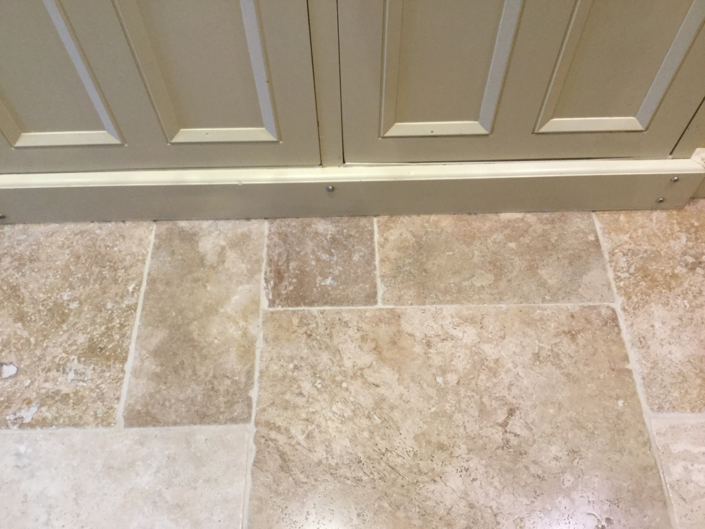 Travertine Kitchen Tiles After Cleaning Helmdon Close-Up