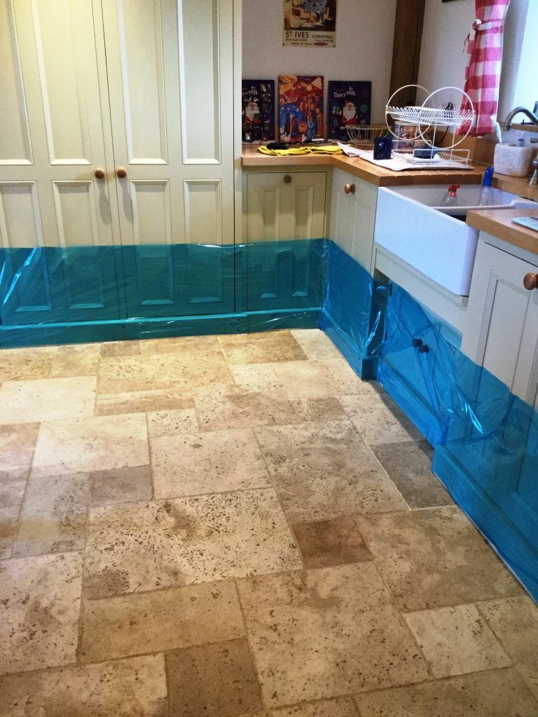 Travertine Kitchen Tiles Before Cleaning Helmdon