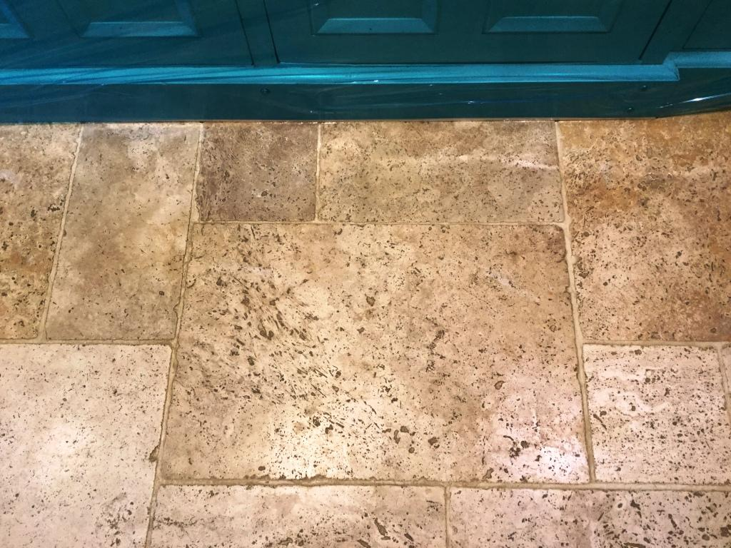 Travertine Kitchen Tiles Before Cleaning Helmdon Showing Pitting