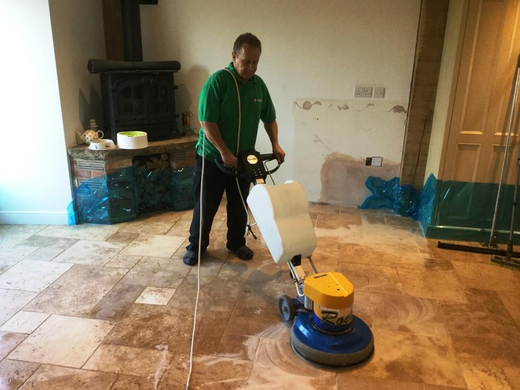 Travertine Kitchen Tiles During Cleaning Helmdon