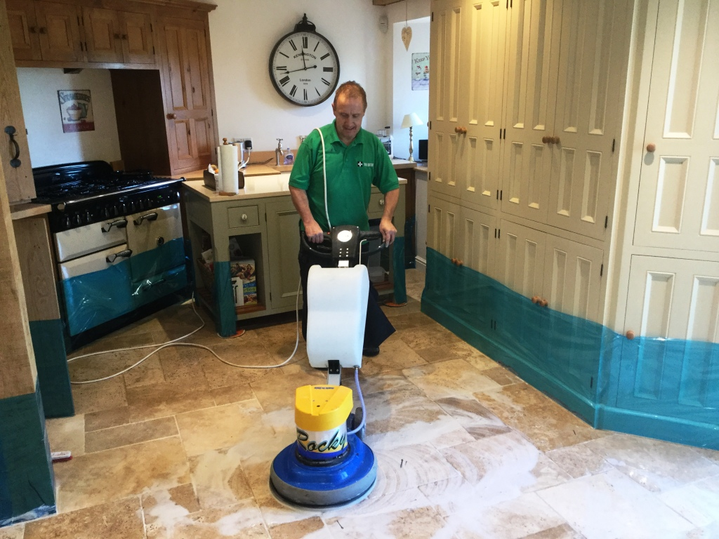 Travertine Kitchen Tiles During Cleaning Helmdon