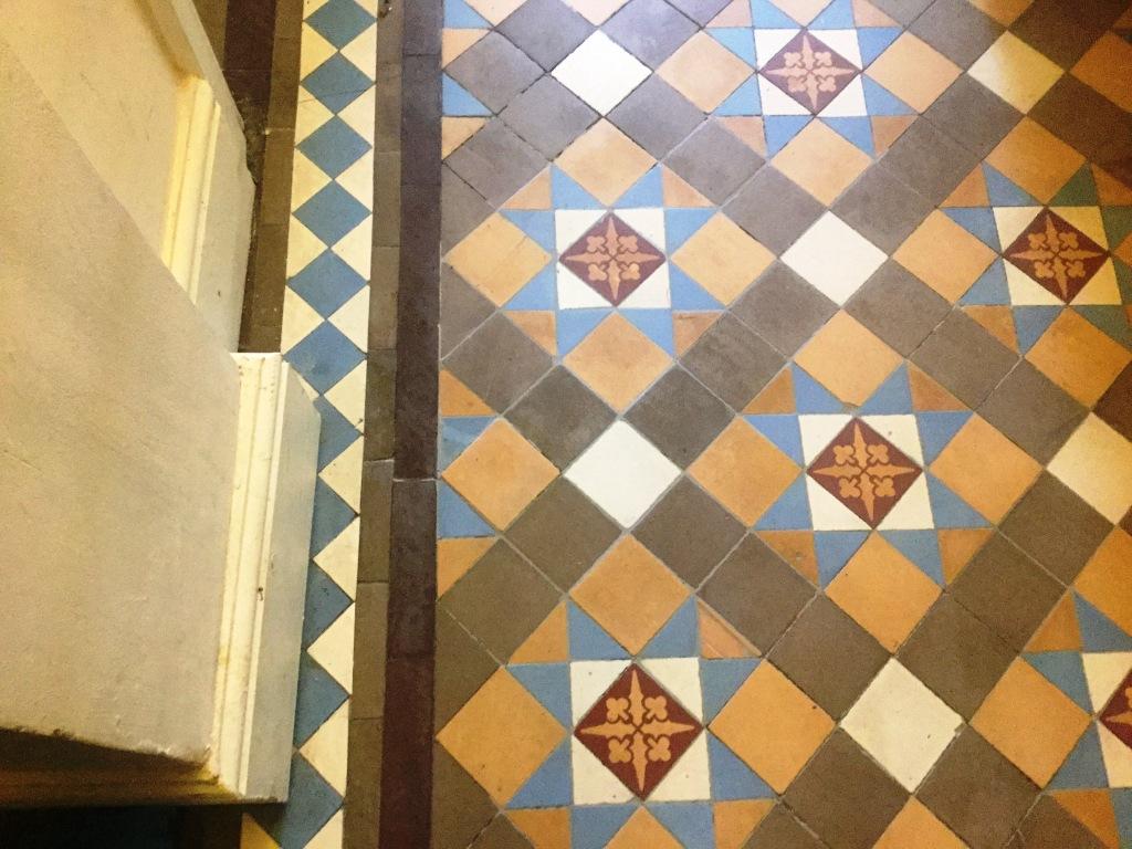 Victorian Tiled Hallway Floor Northampton After Repair Closeup
