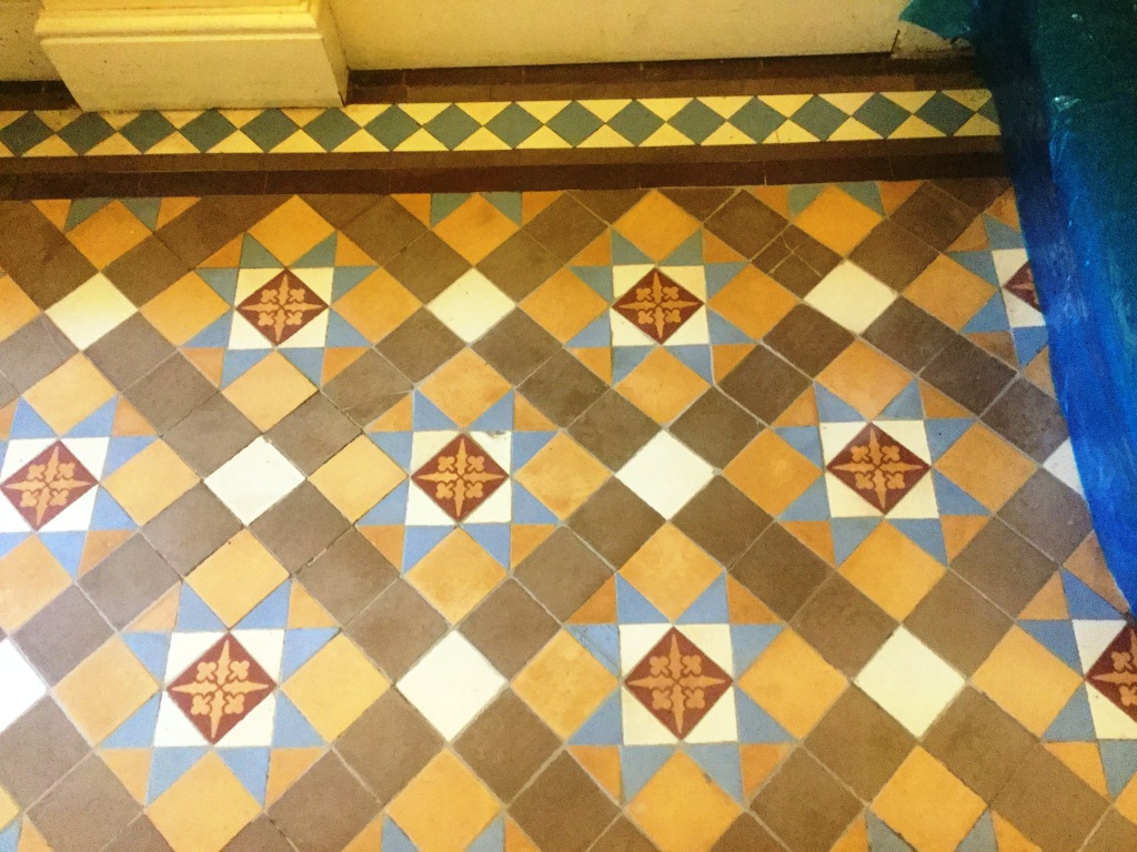 Victorian Tiled Hallway Floor Northampton After Repair Closeup