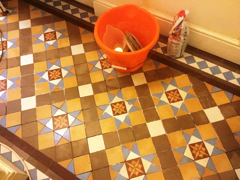 Victorian Tiled Hallway Floor Northampton During Repair