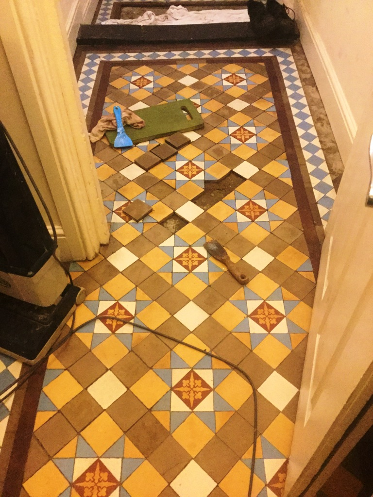 Victorian Tiled Hallway Floor Northampton During Repair