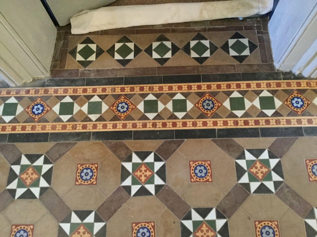 Victorian Tiled Floor Before Cleaning West Haddon