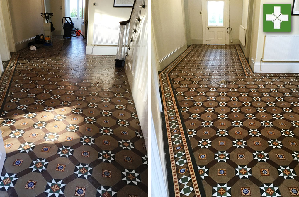 Victorian Tiled Floor Before and After Cleaning and Sealing West Haddon