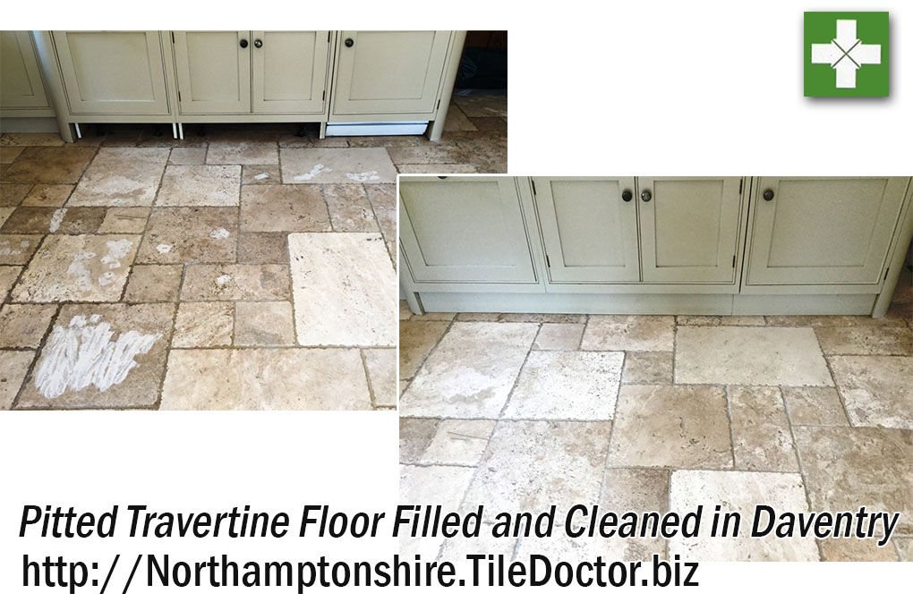 Travertine Tiled Kitchen Before and After Cleaning Daventry