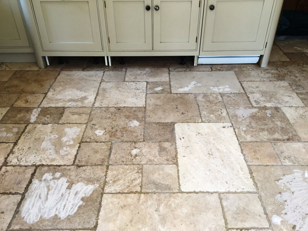 Travertine Tiled Kitchen Floor After Cleaning Daventry Northants ...