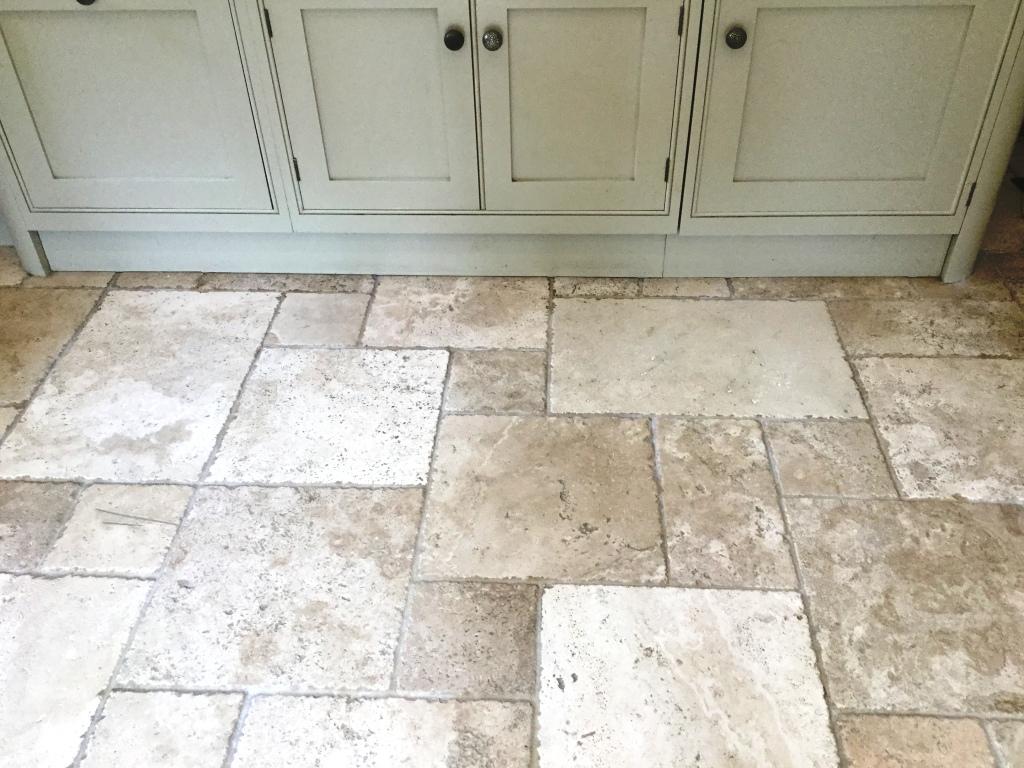 Travertine Tiled Kitchen Floor After Polishing Daventry Northants