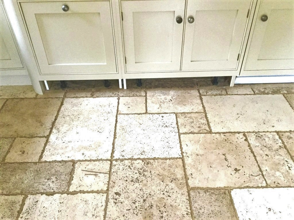 Travertine Tiled Kitchen Floor Before Cleaning Daventry Northants