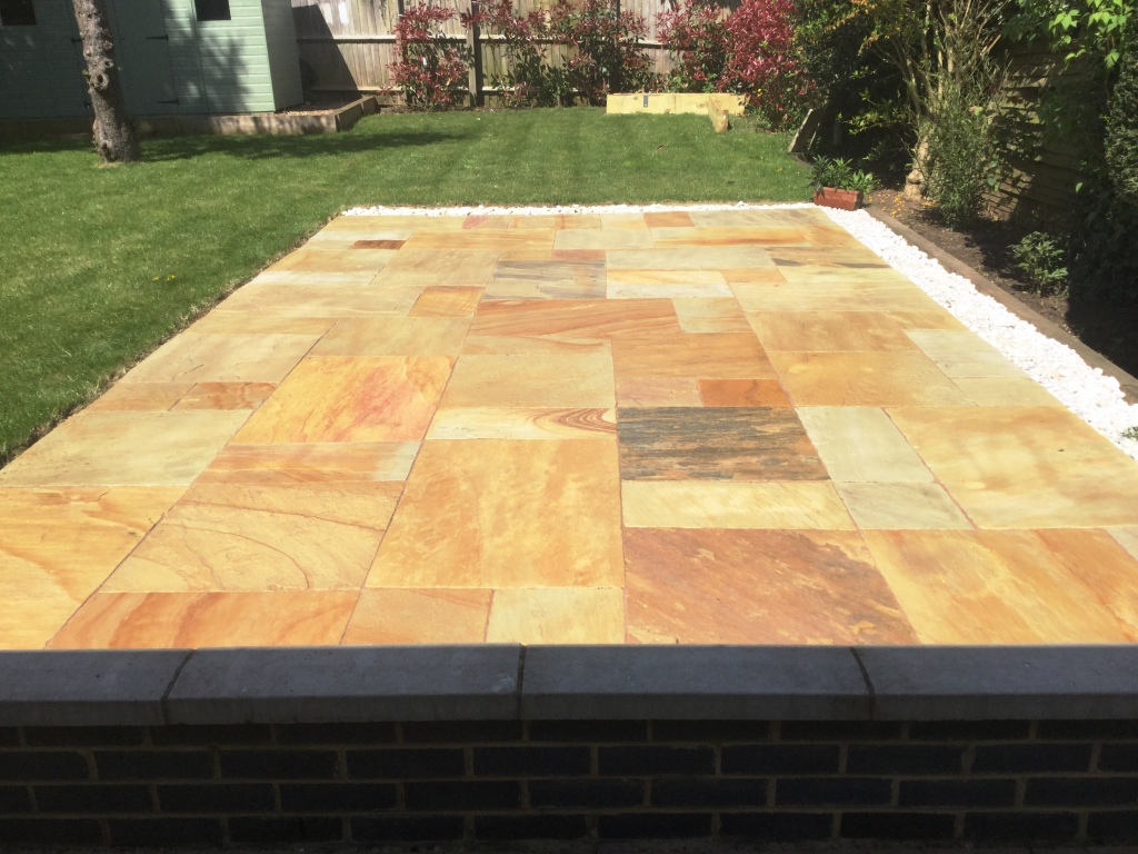 Sandstone Patio After Cleaned Re-grouted and Sealed Kettering