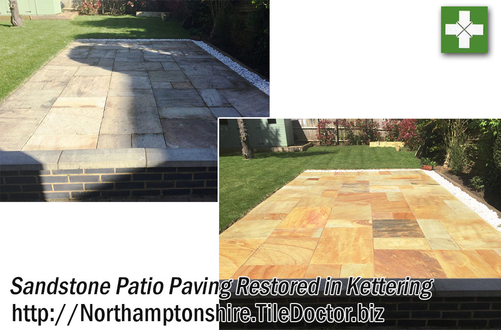 Sandstone Patio Paving Tiles Before and After Restoration Kettering