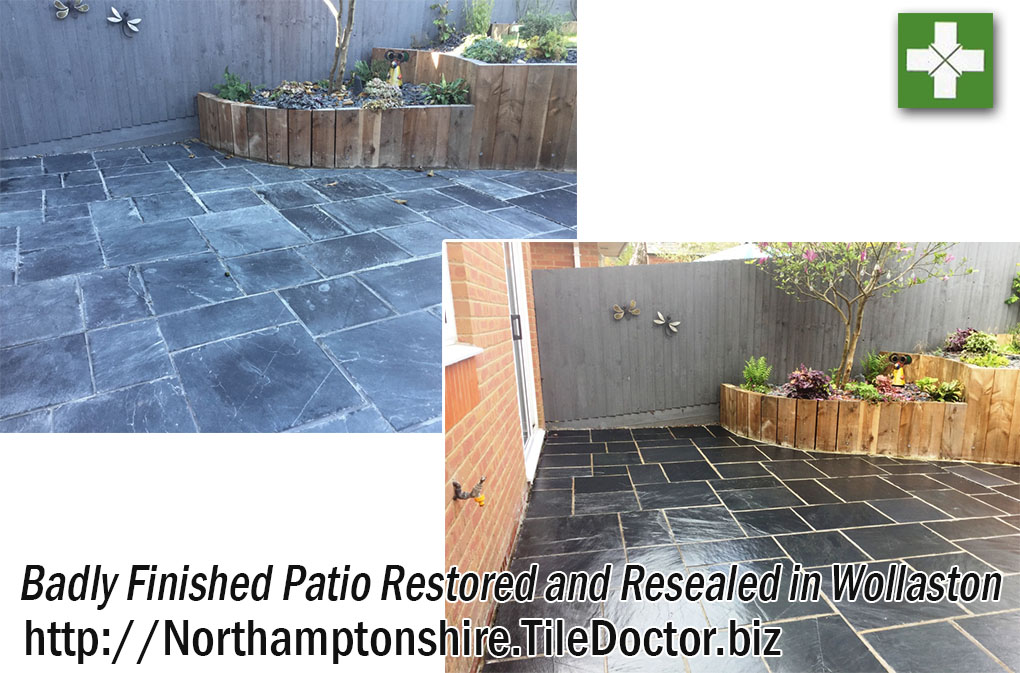 Grout Smeared Slate Tiled Patio Before and After in Wollaston