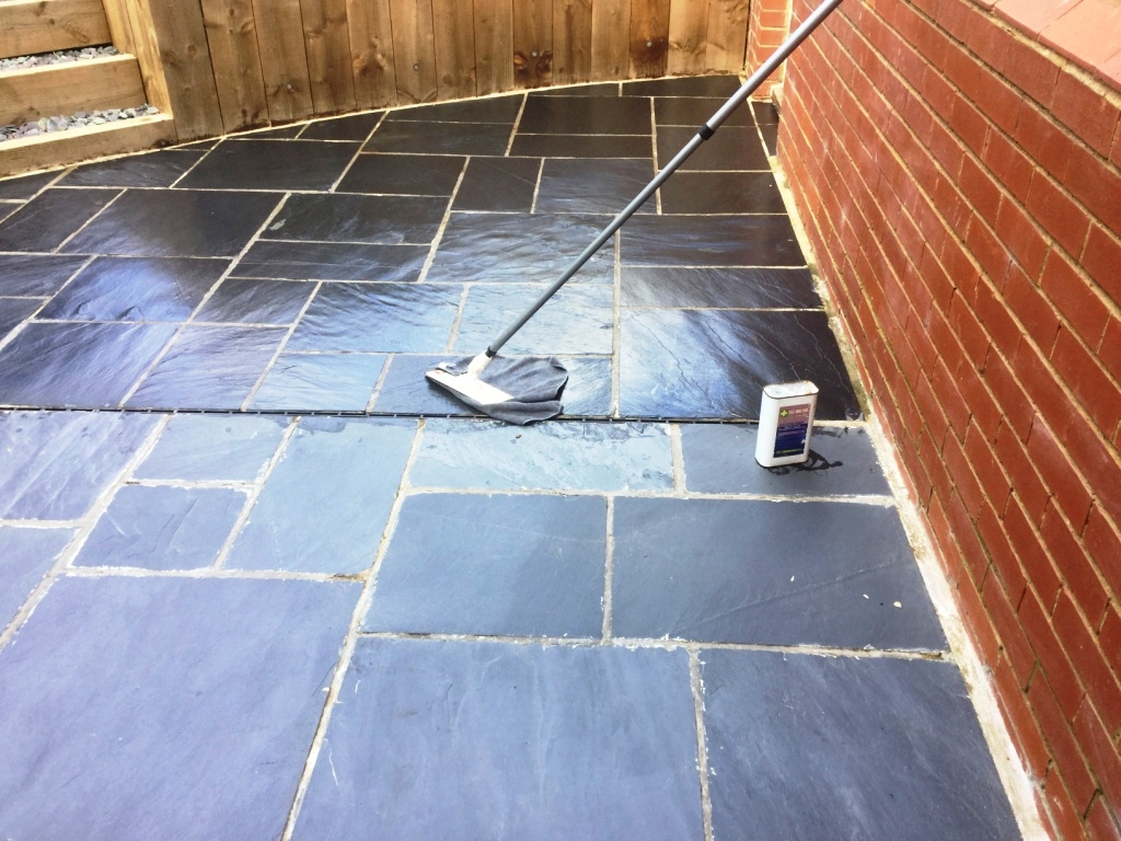 Newly Laid Riven Slate Patio Wollaston After 1st Coat