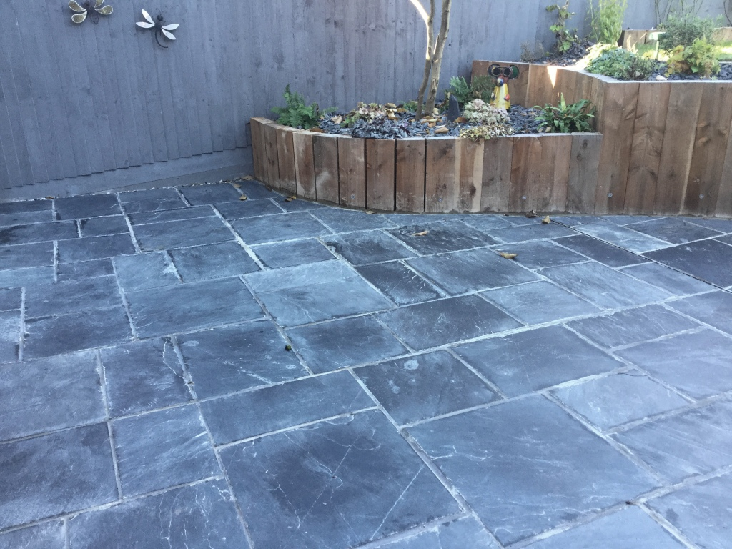 Newly Laid Riven Slate Patio Wollaston Before Cleaning