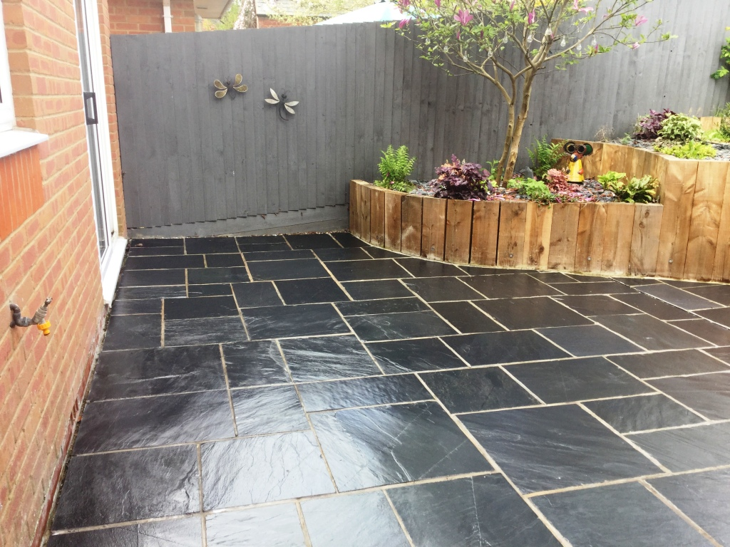 ... Newly Laid Riven Slate Patio Wollaston Completed