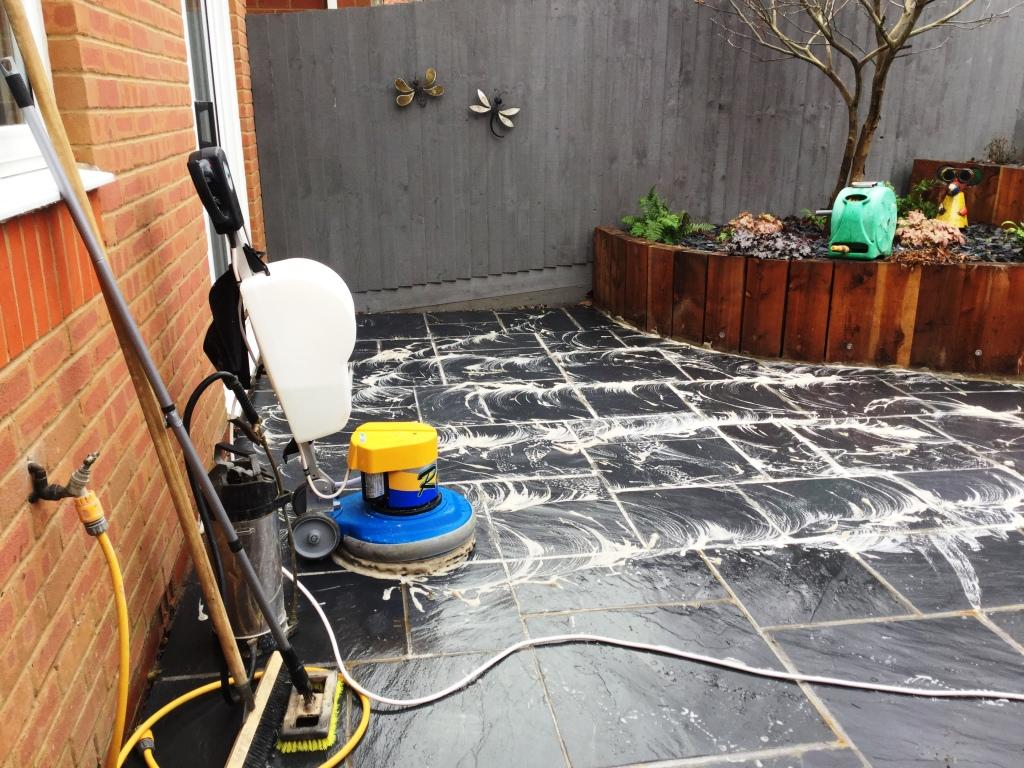 Newly Laid Riven Slate Patio Wollaston During Cleaning