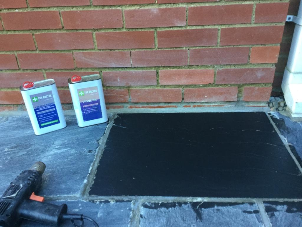 Newly Laid Riven Slate Patio Wollaston Testi Cleaning