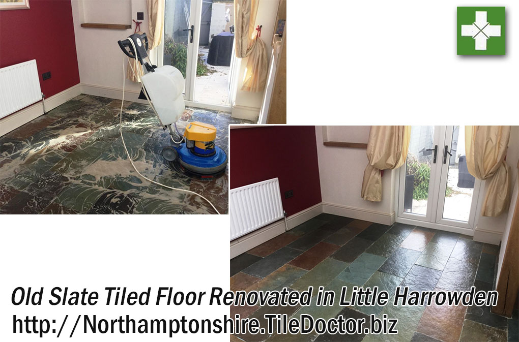 Old Slate Floor before and after Renovation in Little Harrowden