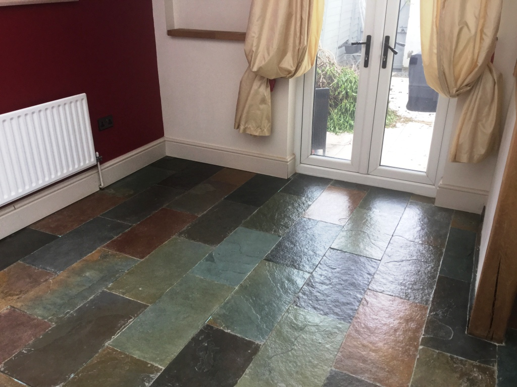 Slate Floor After Cleaning and Sealing in Little Harrowden Wellingborough