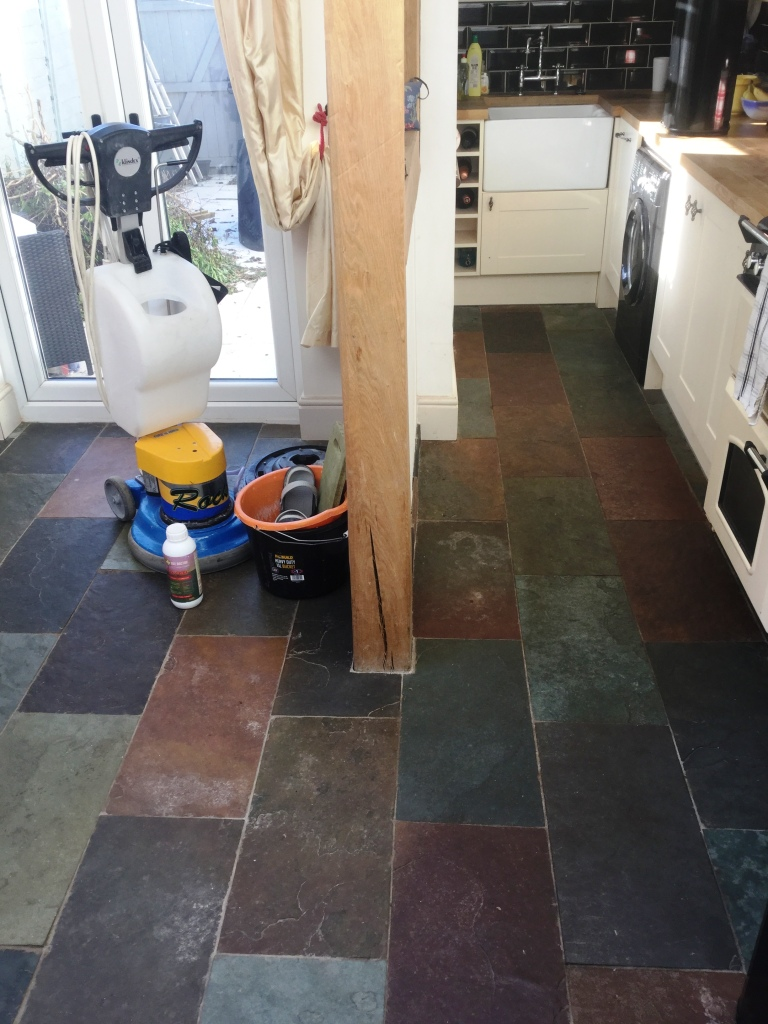 Slate Floor Before Cleaning in Little Harrowden Wellingborough