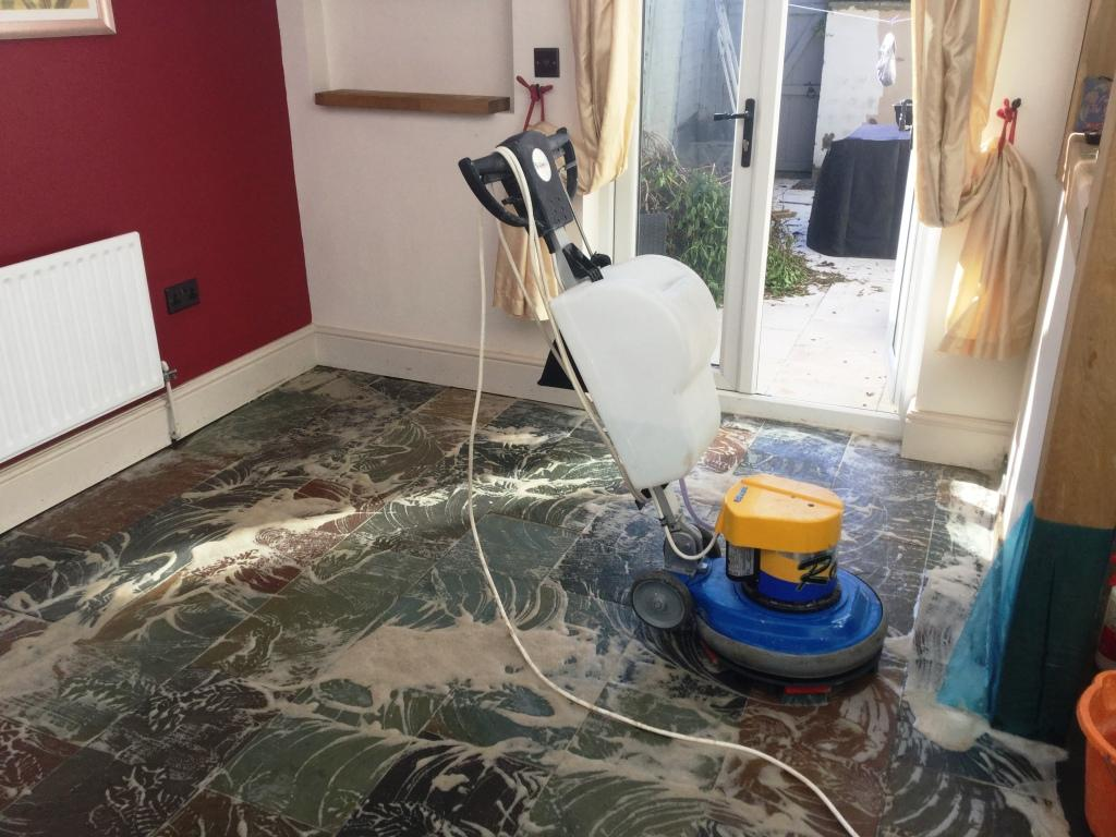 Slate Floor During Cleaning in Little Harrowden Wellingborough
