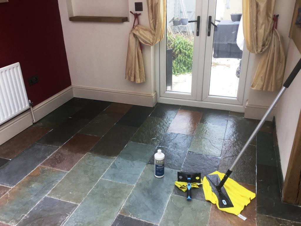 Slate Floor During Sealing in Little Harrowden Wellingborough