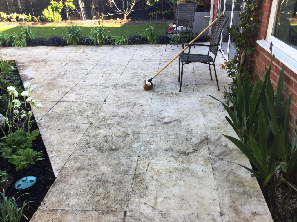 Egyptian Marble Patio Bozeat Before Cleaning