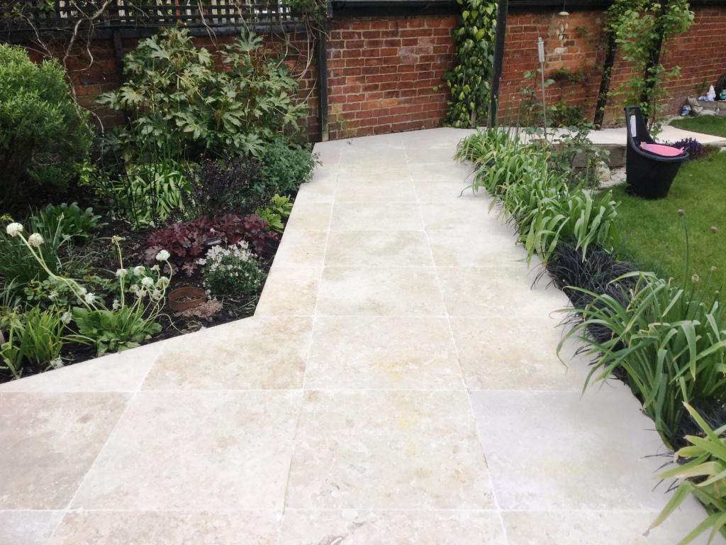 Egyptian Marble Patio Path Bozeat After Cleaning