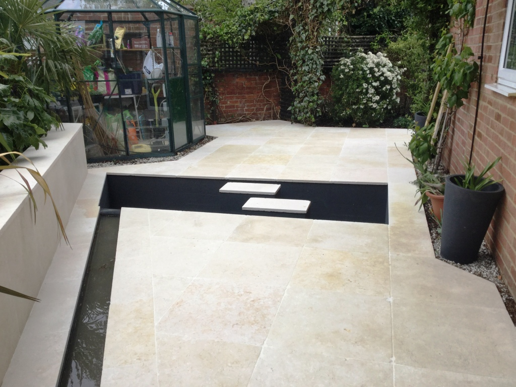 Egyptian Marble Patio Pond Surround Bozeat After Cleaning