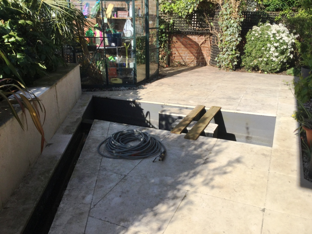 Egyptian Marble Patio Pond Surround Bozeat Before Cleaning