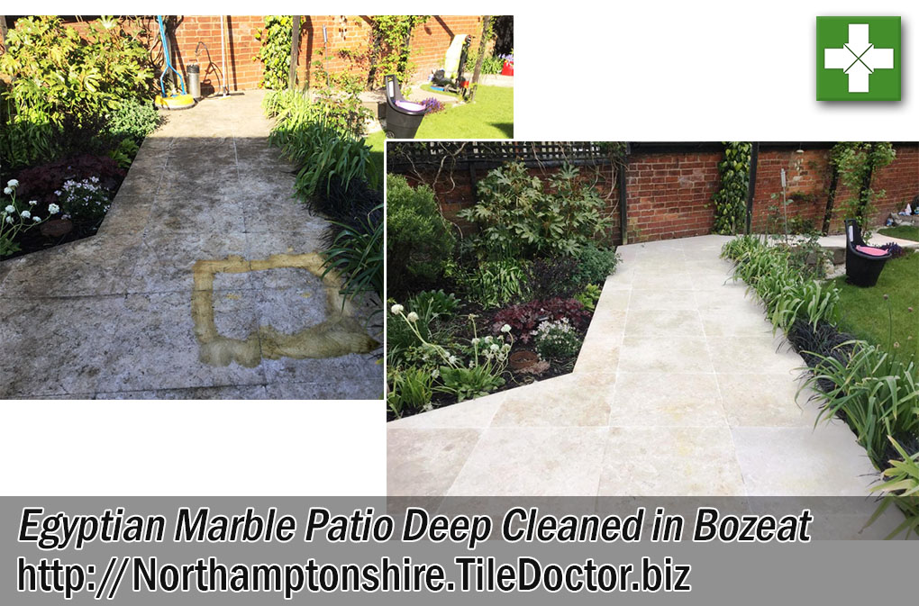 Egyptian Marble Tiled Patio Before and After Cleaning in Bozeat