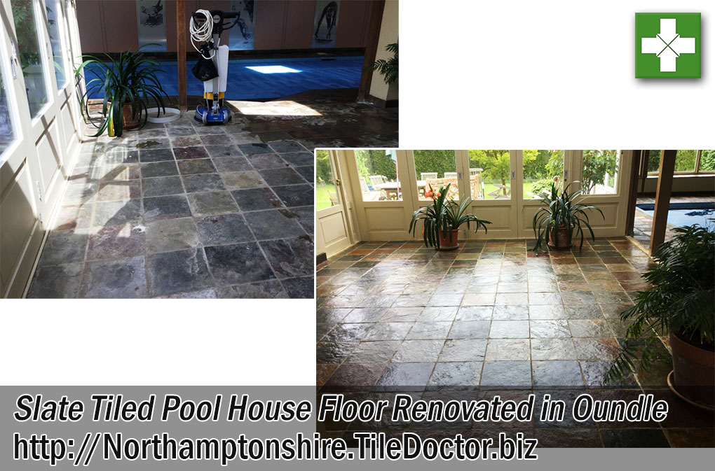 Slate Tiled Pool House Before and After Cleaning in Oundle