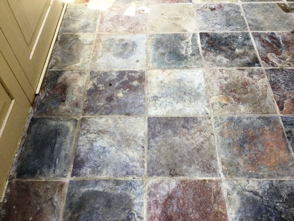 Bleach Damaged Slate Poolhouse Tiles Restored In Oundle