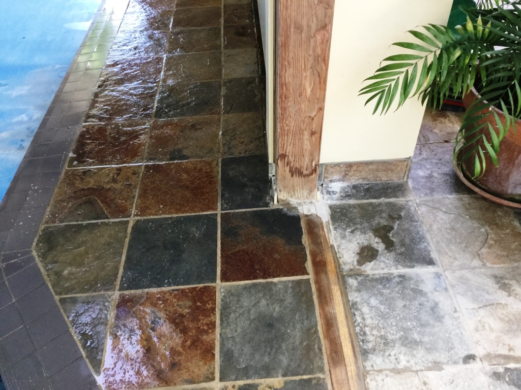 Slate Tiled Pool Surround Oundle Village During Cleaning