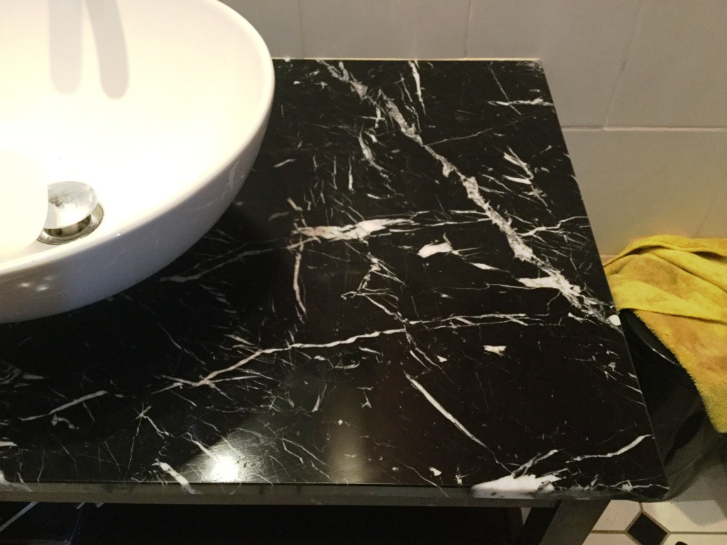 Black Marble Vanity Worktop After Polishing in Northampton