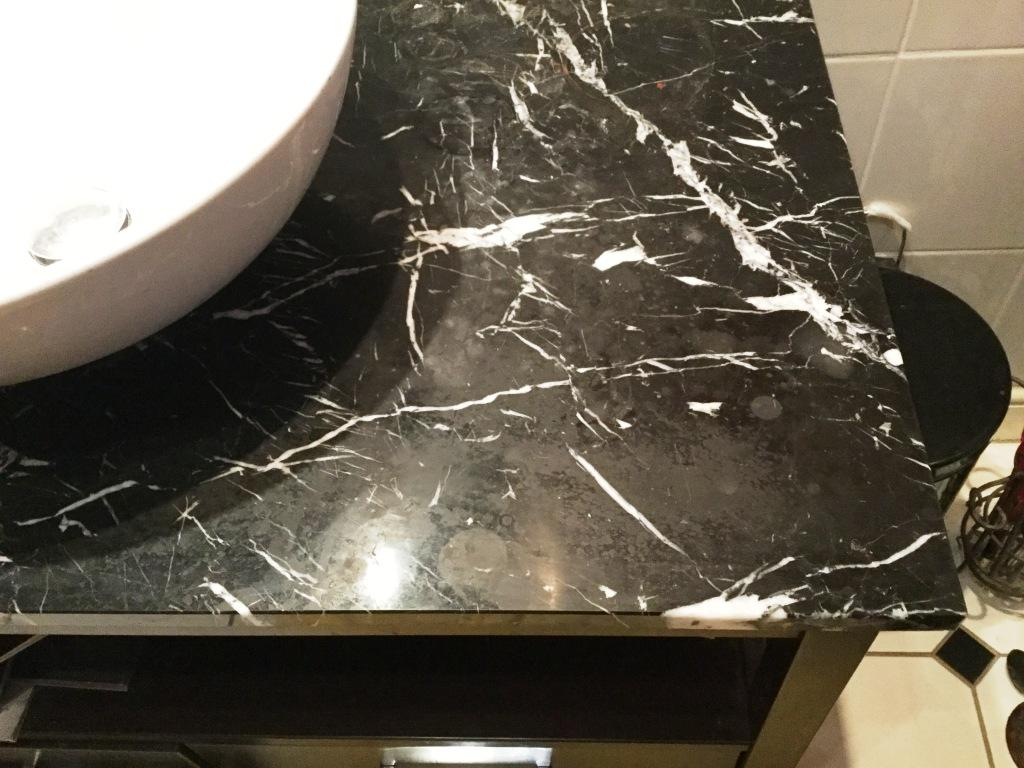 Black Marble Vanity Worktop Before Polishing in Northampton